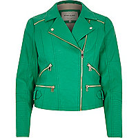 Green leather-look zip biker jacket