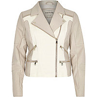 Cream leather-look and canvas biker jacket