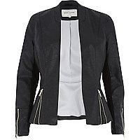 Black leather-look peplum jacket