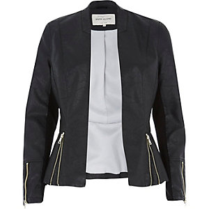 Black leather-look peplum jacket