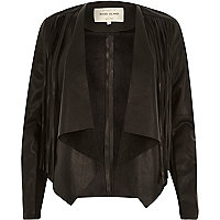 Black leather-look fringed fallaway jacket