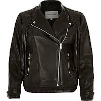 Black leather-look fringed biker jacket