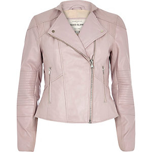 Pink leather zip detail biker jacket