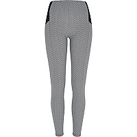 Grey basket weave print leggings