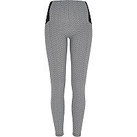 Grey basket weave print leggings