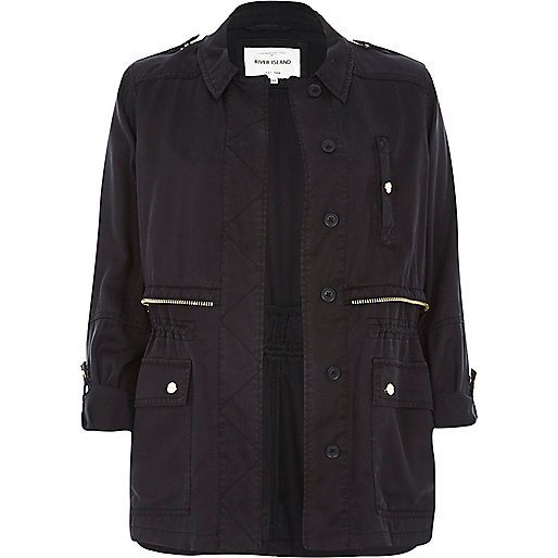 Black Utility Military Casual Jacket, River Island