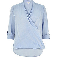 Blue loose chambray wrap top