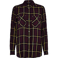Purple check loose fit shirt