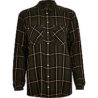 Green check loose fit shirt