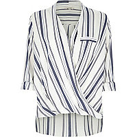 Blue stripe wrap front blouse