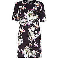 Black crepe rose print t-shirt dress