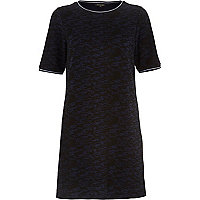 Navy textured t-shirt dress