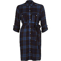 Blue check casual long sleeve shirt dress