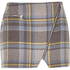 Blue check mini pelmet skirt