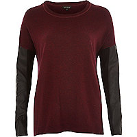 Dark red leather-look sleeve jumper