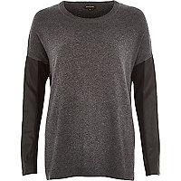 Dark grey leather-look sleeve jumper