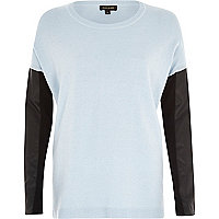 Blue leather-look sleeve jumper
