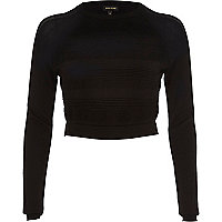 Black ripple mesh knitted crop top