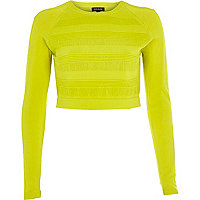 Lime ripple mesh knitted crop top