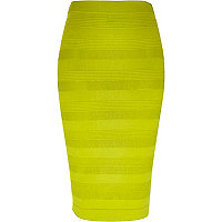 Lime ripple mesh knitted skirt