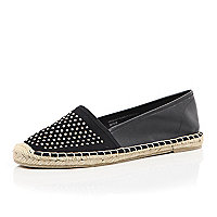 Black studded leather-look espadrilles