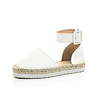 White chunky ankle strap espadrilles