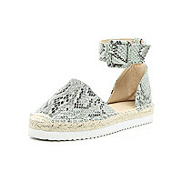 Light green snake print espadrilles