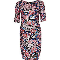 Pink sequin print bodycon dress
