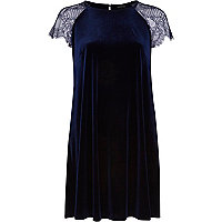 Navy velvet lace sleeve swing dress