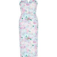 Pink floral print bandeau pencil dress
