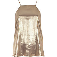 Gold metallic silky cami top