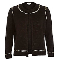Black long sleeve embellishment cardigan