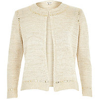 Cream long sleeve embellishment cardigan