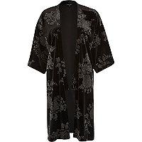 Black metallic print velvet kimono