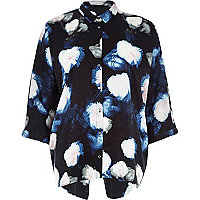 Black floral print split back shirt