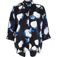 Black floral print split back shirt