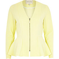 Yellow collarless peplum jacket