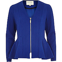 Blue collarless peplum jacket
