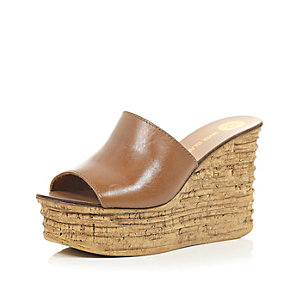 Tan leather cork heel mule wedges