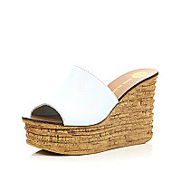 White leather cork heel mule wedges