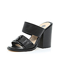 Black chunky block heel mules