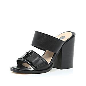 Black leather chunky block heel mules
