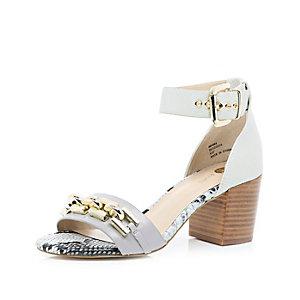 Grey chain front mid heel sandals