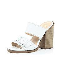 White chunky block heel mules