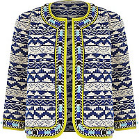 Blue jacquard beaded boxy jacket