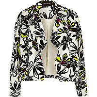 Cream floral print draped cropped jacket