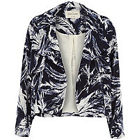 Navy feather print draped cropped jacket