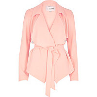 Pink cropped drape trench jacket