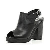 Black peep toe slingback heel