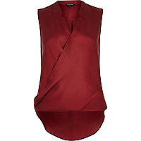 Red sleeveless wrap blouse